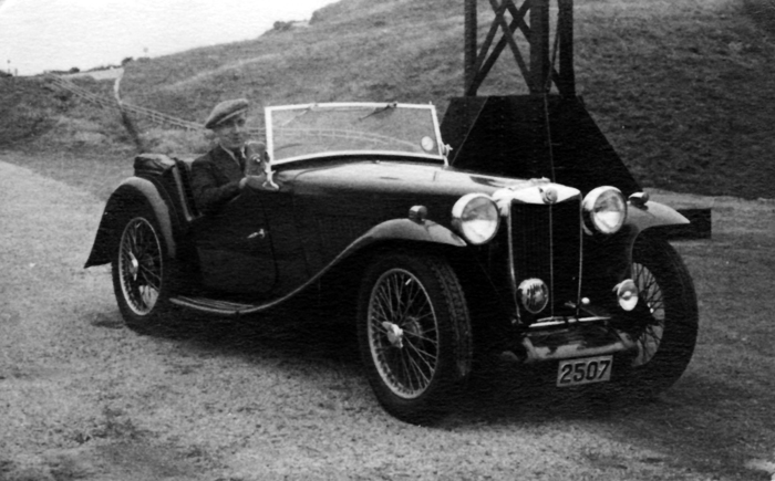 Lindsay in his MG TA, in Kowloon, China ca.1937